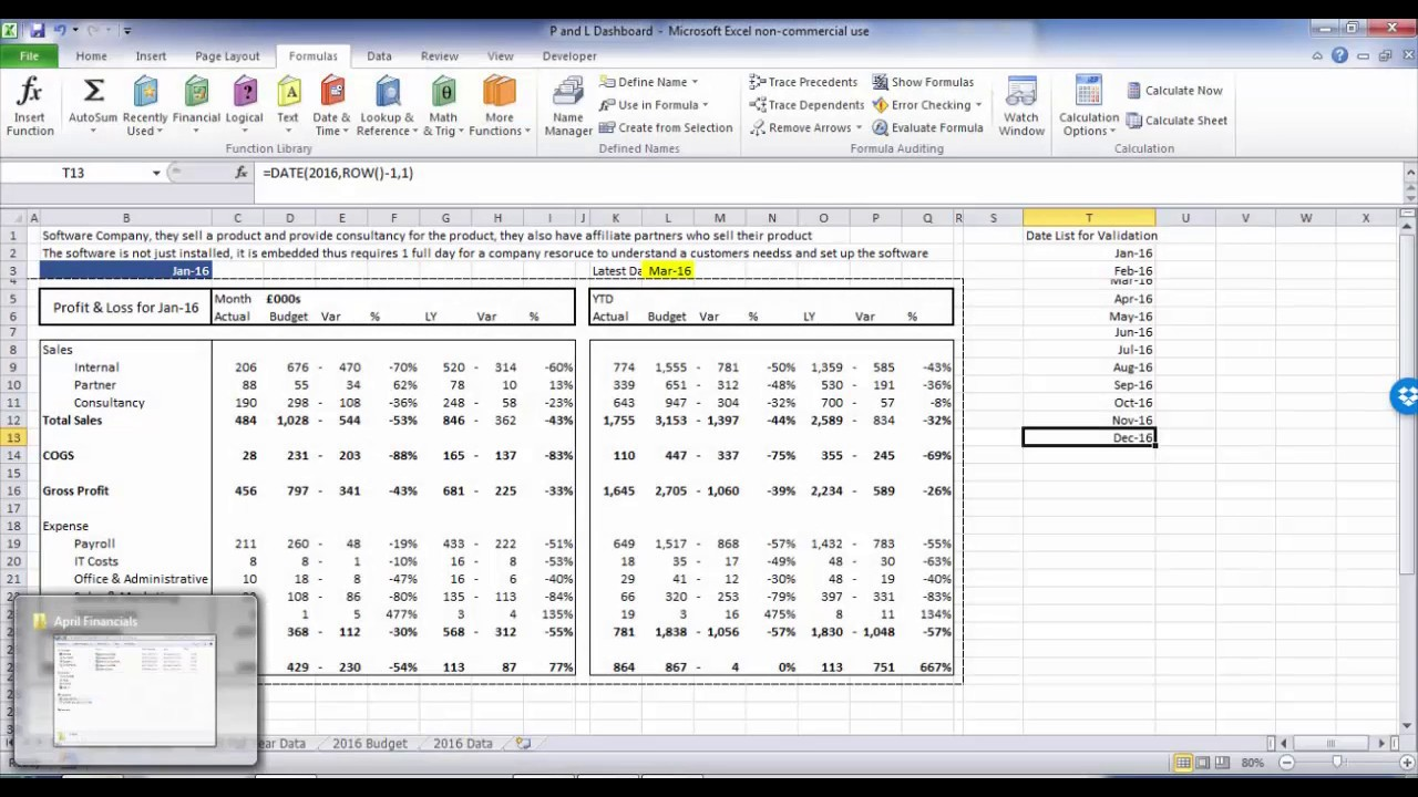 Automation Of A Profit And Loss Statement With Excel VBA