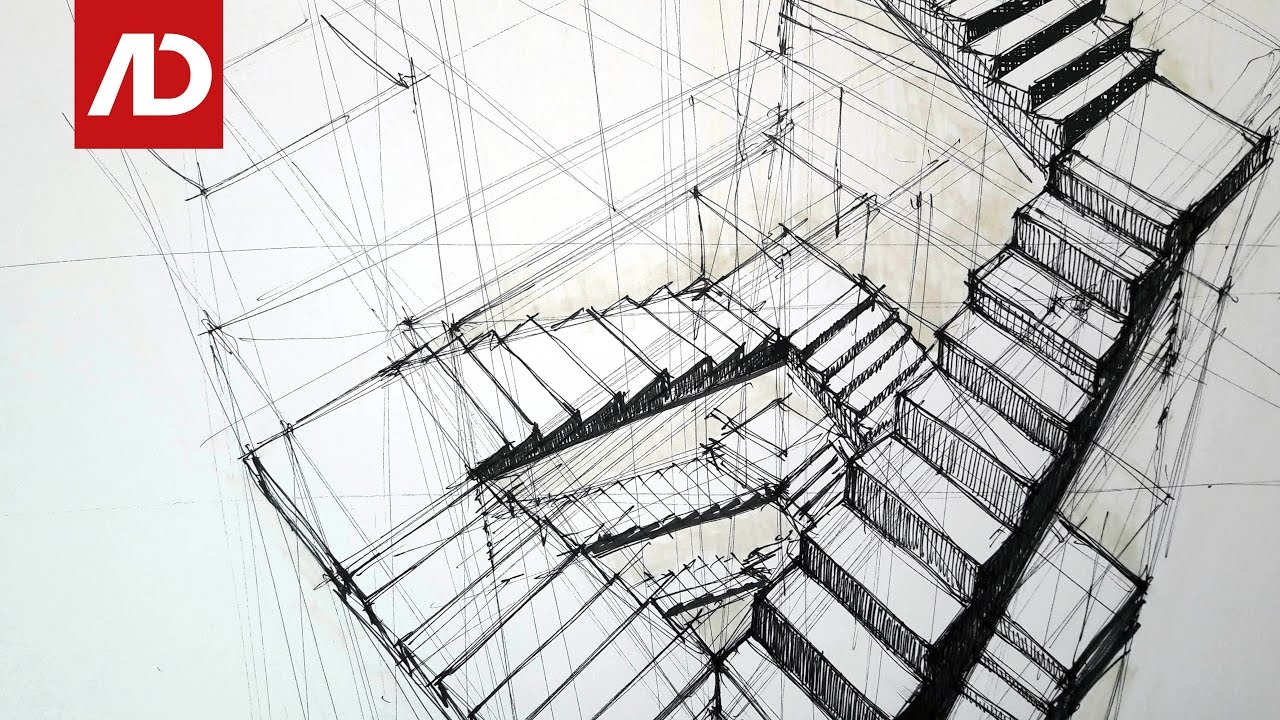 Drawing Stairs Composition In Three Points Perspective