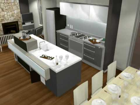 Small Modern Kitchen Design 3D animation by Minosa