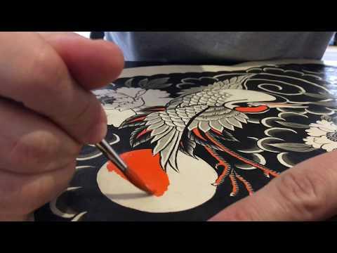 Painting Tsuru - Traditional Japanese Tattoo by Caio Piñeiro