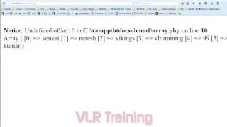 PHP Indexed Arrays Telugu   16-vlr training
