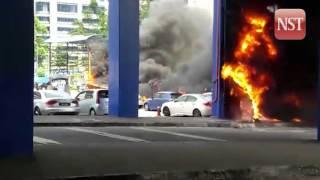 Six cars ablaze at Taman Jaya LRT station