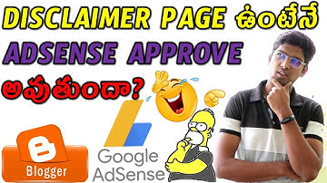 How To Create Disclaimer Page In Telugu To Get Adsense Easy Approval Blogger Tutorials Prawin Tech