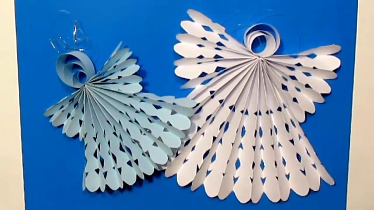DIY Ангел Из Бумаги.Рождественский Ангел украшение декор поделки на Новый год.Origami Angel