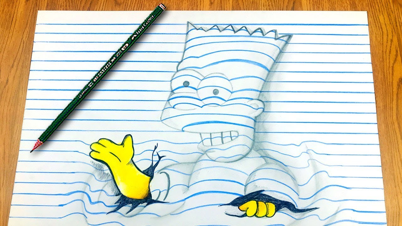 Como Dibujar Bart En 3d Los Simpson Videos Para Ninos Videos