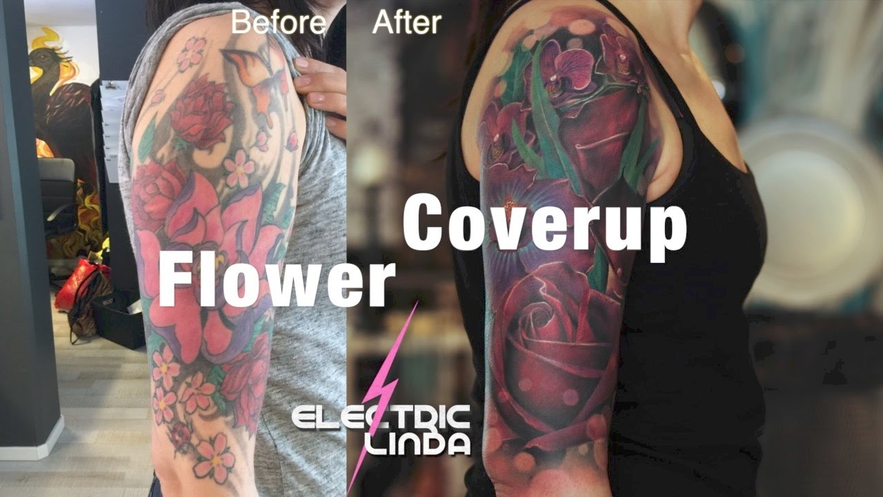 Flower Big Coverup Tattoo - Before and After - YouTube
