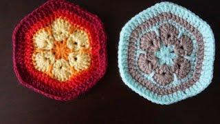 Шестиугольный мотив крючком / Crochet hexagon motif