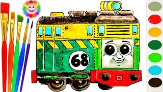 Thomas And Friends Coloring Page  ♦ How to Draw Diesel Philip  ♦  Learn Colors Video For Kids