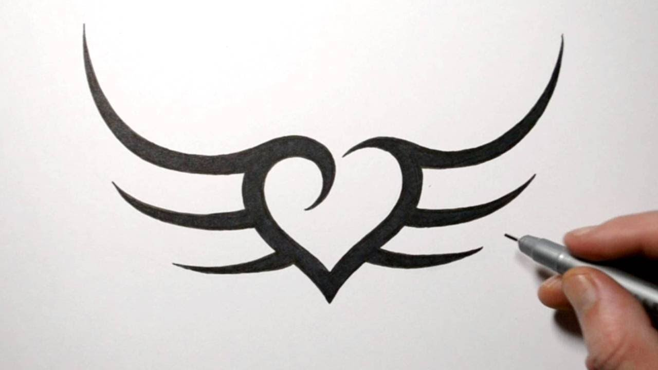 How to Draw a Simple Heart with Wings Tribal Design - YouTube
