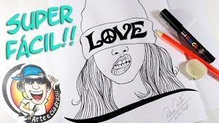 Como Desenhar GAROTA TUMBLR LOVE - Contorno com CANETA POSCA