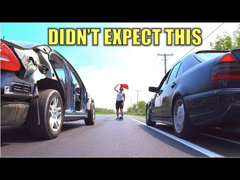 Who Wins? Weight Reduction Vs. HorsePower. Mercedes C43 AMG & See Through Car Drag Race + Burnouts!