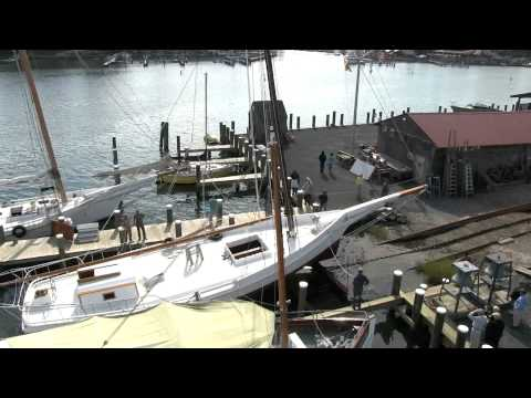 Skipjack Rosie Parks Goes Up on the Rail at the Chesapeake Bay Maritime Museum