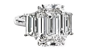 r5757 10 carat emerald cut diamond in a three stone ring by leon meg
