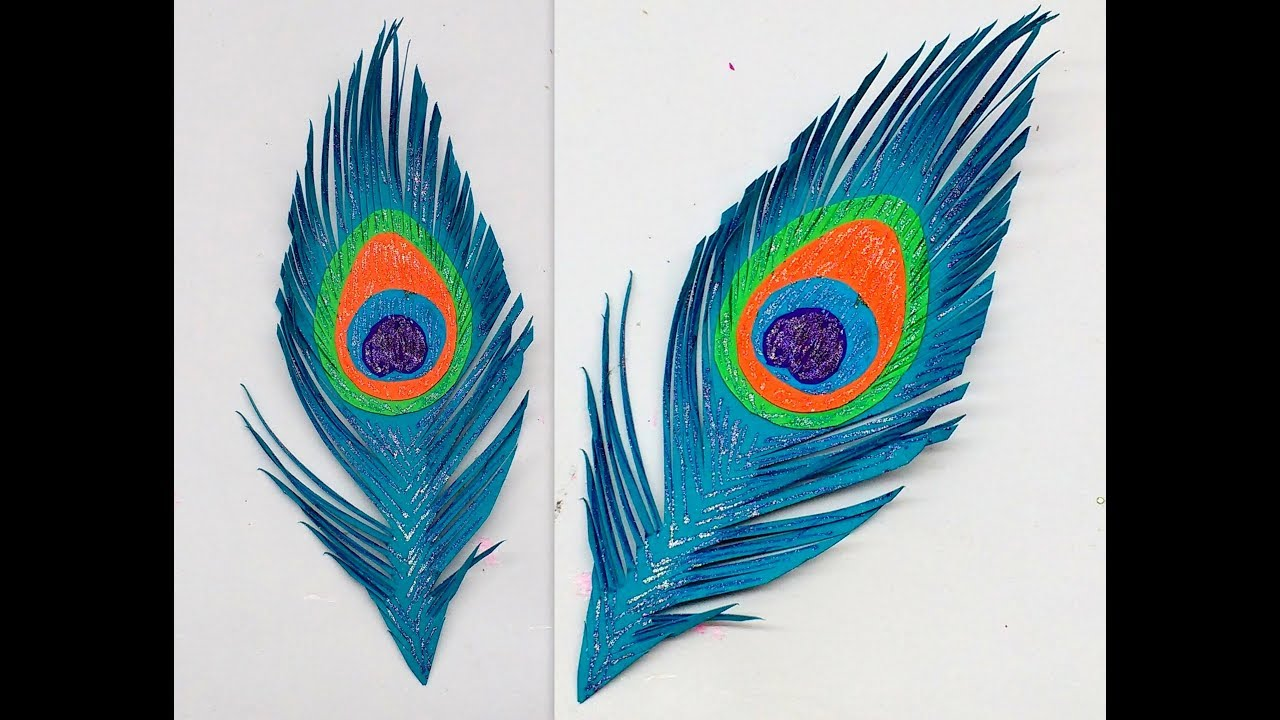 diy how to make easy paper peacock feather youtube. Black Bedroom Furniture Sets. Home Design Ideas