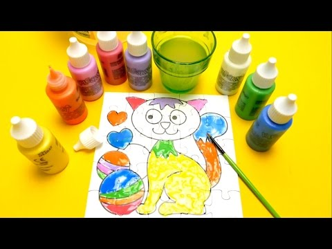 Finger Painting Game - Cat Puzzle Coloring Playset