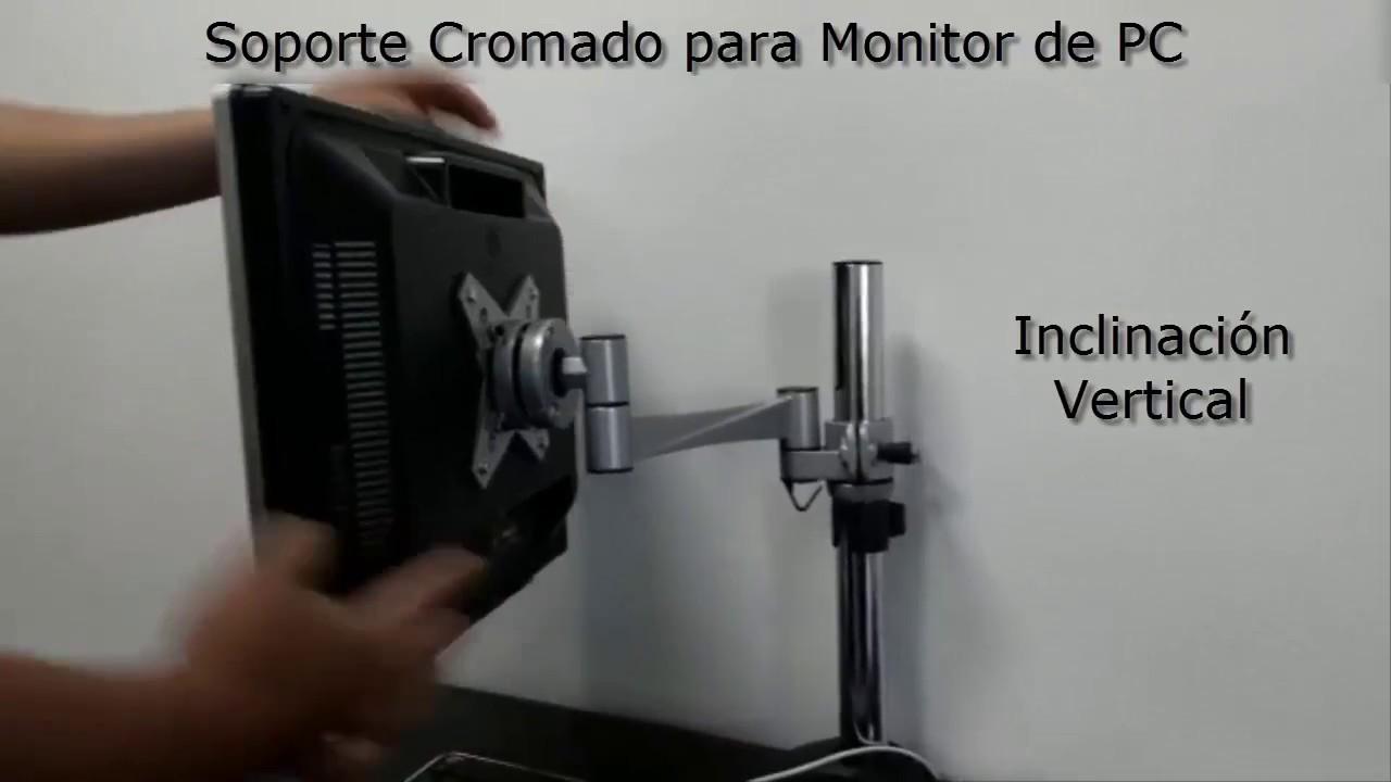 Soporte cromado de escritorio para monitor de pc youtube for Soporte monitor mesa