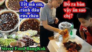 Choáng với street food Thái lan đổ thẳng đồ ăn xuống bàn cho khách bốc ăn vì tết quá đông
