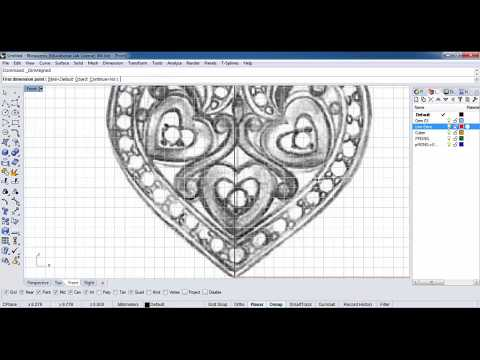 How to create Heart Shape Pendant JEWELRY CAD Rhino 3D Part - 1  - Education