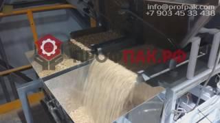 Автоматическая фасовка и упаковка пеллет в большие пакеты 15 кг