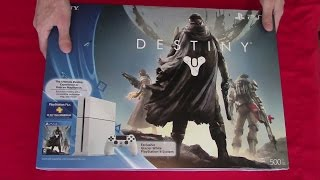 Sony PlayStation 4 (PS4) Destiny bundle unboxing video(Tweet! http://bit.ly/1wbX9FI Subscribe! http://bit.ly/HXyIWM The PS4 Destiny bundle, released on September 9, 2014, features a glacier white PlayStation 4 ..., 2014-09-09T17:28:30.000Z)