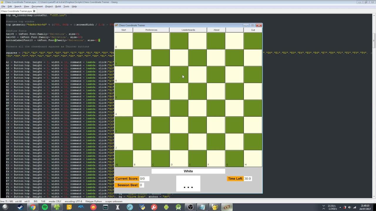 Chess Coordinate Trainer using Python and Tkinter