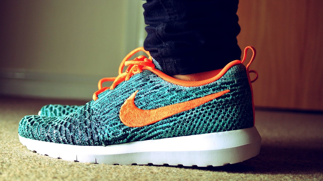 Nike Roshe Run NM Flyknit Aqua Green & Orange On Feet HD