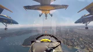 PILOTS VIEW US Military BLUE ANGELS pilots flying aerobatic maneuvers in airshow