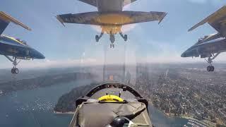 PILOTS VIEW US Military BLUE ANGELS pilots flying aerobatic maneuvers in airshow