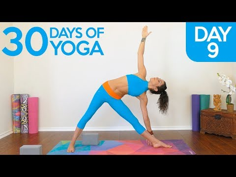 Yoga Basics For Flexibility & Toning ♥ Day 9 Triangle Pose, Relaxing Class | 30 Days Of Yoga