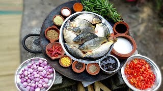Amazing Big Fish Recipe cooking in my village   Yummy Taste Fish Curry