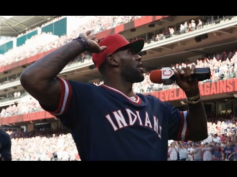 LeBron James addresses crowd at Progressive Field before ALDS Game 2
