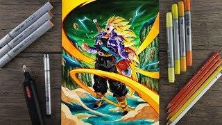 Drawing TRUNKS Super Saiyan 3 (Transforming)