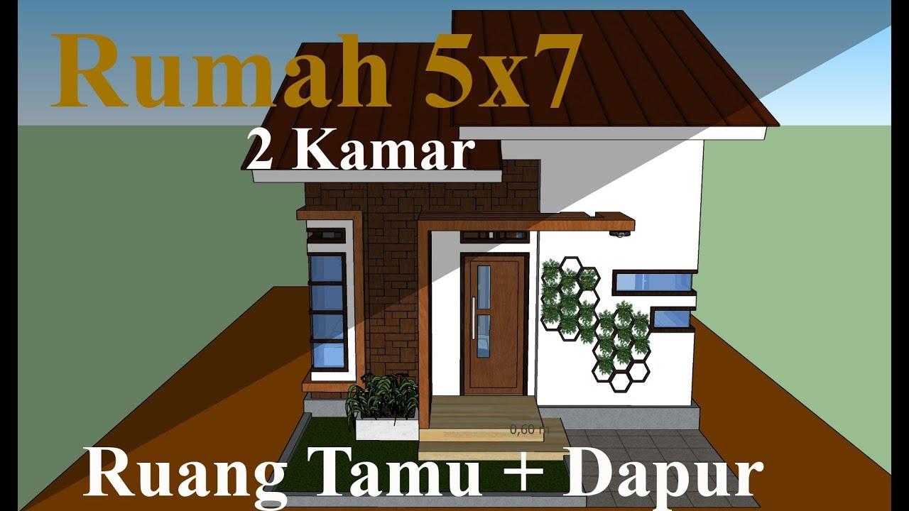Desain Rumah 5x7 Meter Minimalis Sederhana 2 Kamar & Ruang Tamu