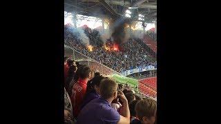 18+. Спартак (М) - Динамо (М) 0:1. Шиза из эпицентра. Фаера, дымы, стычка на поле.
