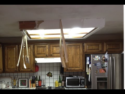 How To Remove Fluorescent Ceiling Light Box YouTube - Kitchen ceiling light box
