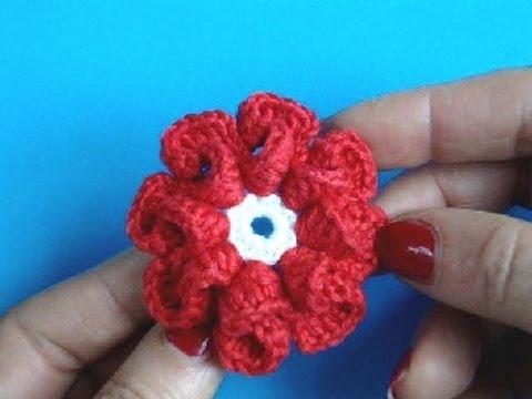 Вязание цветка крючком Урок 9