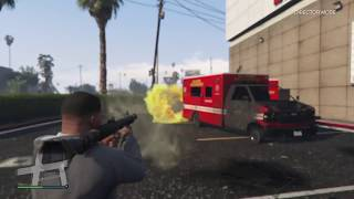 Rocket Launcher FAIL [HIT BY AMBULANCE]   GTA V