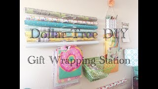 Dollar Tree DIY Gift Wrapping Station Wall Organizers  - Easy Less than $10