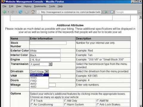websites for car dealers tutorial, adding cars to website