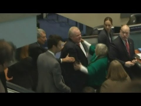 Toronto Mayor Rob Ford knocks councillor over after being heckled