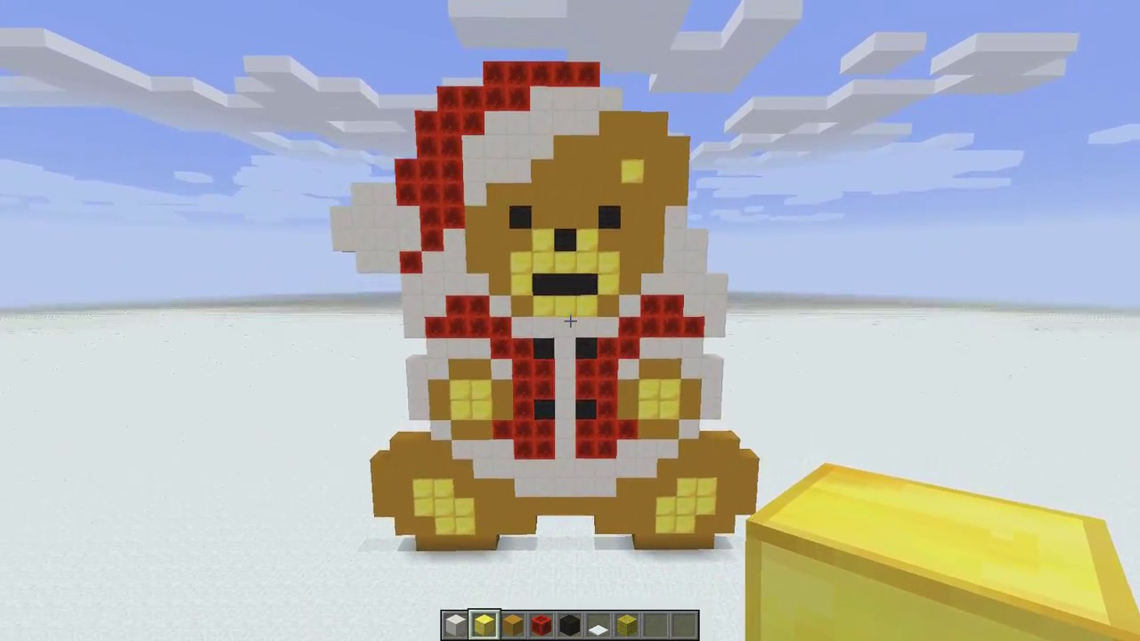 Minecraft Pixel Art Ursul Lui Mos Craciun XD YouTube