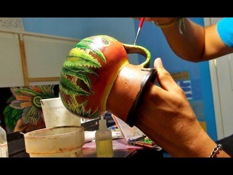 Arte en jarrito de barro por man reyes youtube for Decoracion de jardin con ollas de barro