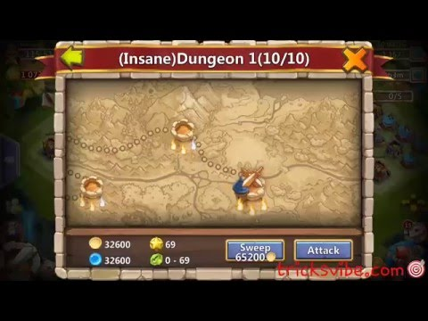Castle Clash Insane Dungeon 1-10 Without Mino,vlad,santa,sm(f2p Heroes Only)