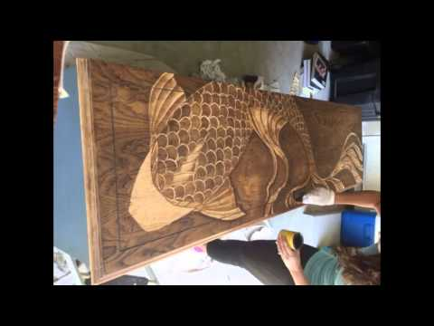 Decorative Wood Stain, Gradual Stained Koi Fish Dresser