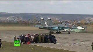 Первая группа бомбардировщиков Су-34 из Сирии приземлилась на авиабазе под Воронежем