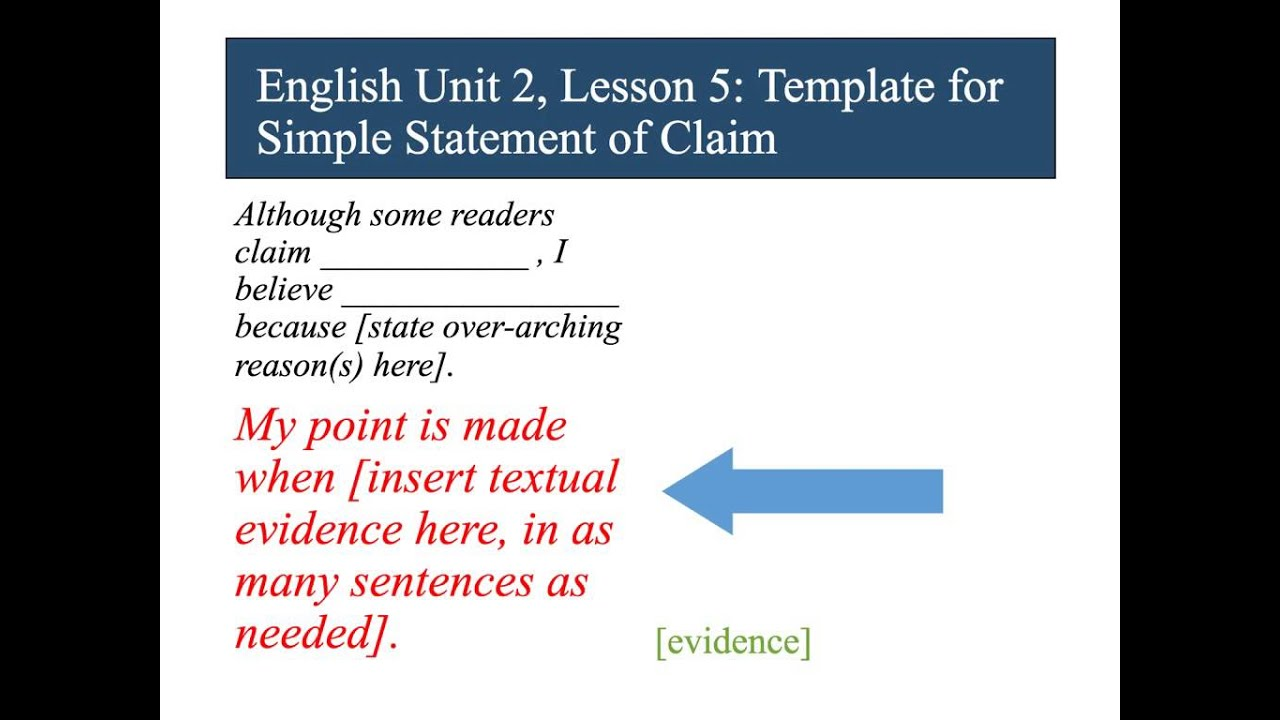 Literacy Ready English Unit 2 Template Claim - YouTube