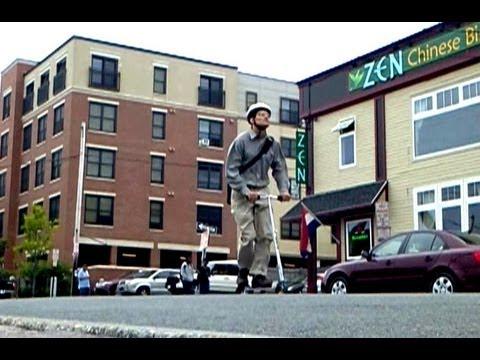 Urban Professional Kick Scooter COMMUTING Video: Alternative Transportation