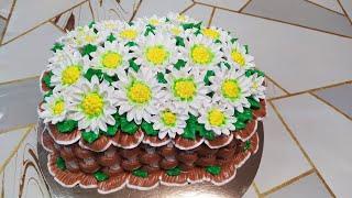 Быстрое формирование и украшение торта Корзина ромашек