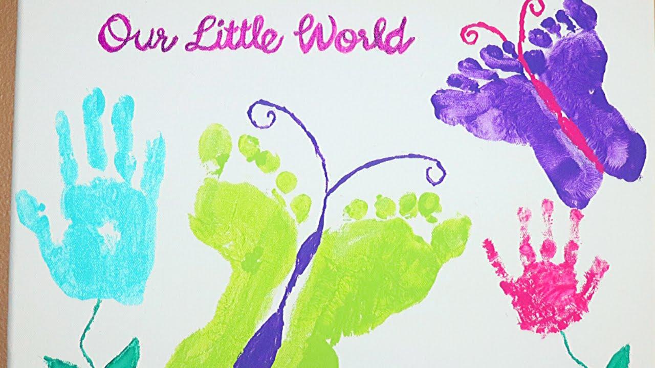 Baby Footprint Drawing Baby Foot Print With Paint On Canvas Baby Footprint And Hand Print Art Youtube