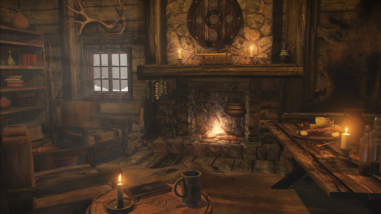 Fireplace Sounds with Howling Wind | 2 Hours - YouTube